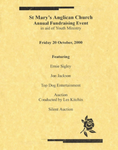 Front cover of program for fundraising dinner, 20 October 2000