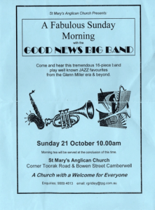 There is an excellent attendance of 109 at a service on 21 October featuring the Good News Big Band, which plays foot-tapping Christian music. The visit is arranged by Glenys Sigley.