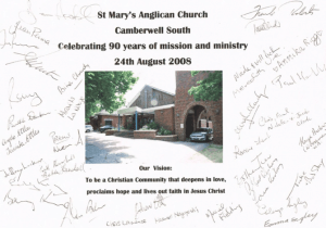 Parishioners signed this photo, commemorating the church's 90th anniversary in August 2008.