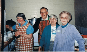 Voluntary kitchen 'staff' at many a St Mary's event – Norma and Hugh Grayson, Dot Porter, Mavis Draper