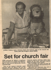Publicity for the 1988 Fair in the local paper. Lorna Vickery with her trash and treasure.