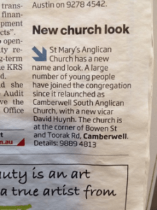 The community notices the changes to the church as captured in the Boroondara Bulletin